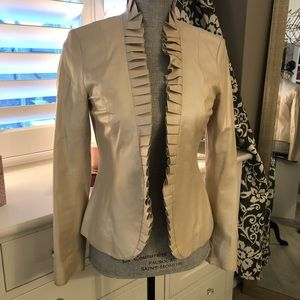 Cream Iridescent Leather Blazer